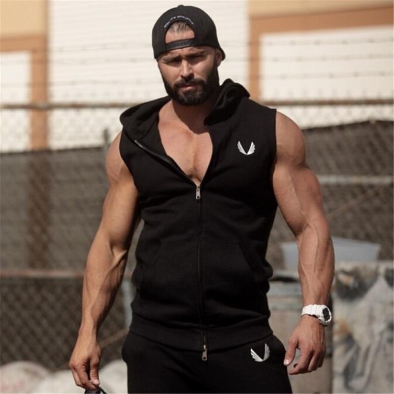 Hommes Coton Capuche Sweats fitness vêtements bodybuilding débardeur homme Sans Manches T-shirts Chemise Casual médailles d'or gilet
