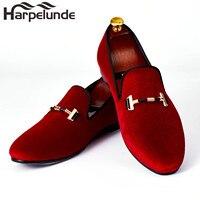 Harpelunde Italian Men Dress Shoes Buckle Strap Wedding Shoes Red Velvet Loafers Size 7 14