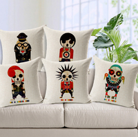 Skull pillow cover, The trend of Fashion Trend Mr. vampire decadent skeleton cotton linen throw pillow case