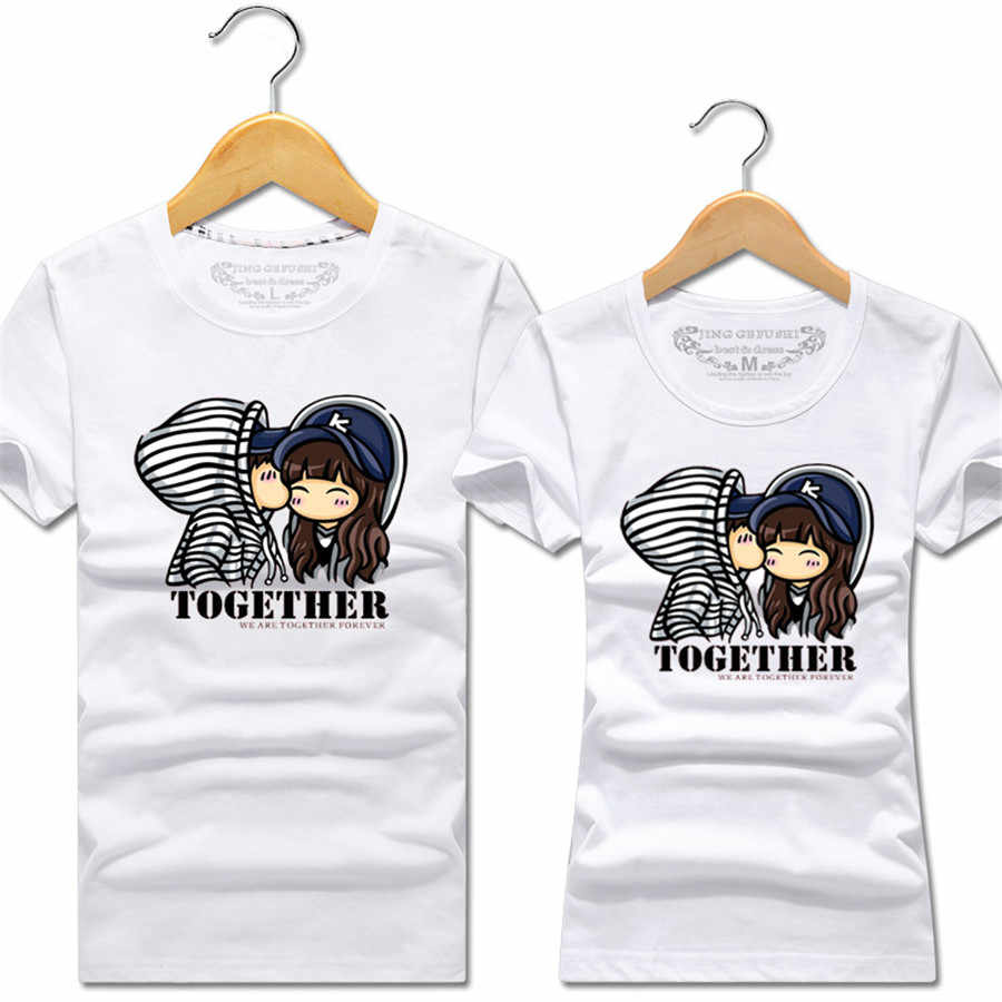 Summer Korean Fashion Matching Couple Clothes Cute Cartoon Sweet Tops Short Sleeve Couple T Shirts For Lovers Tee Shirt Femme Aliexpress