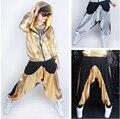 Atacado moda de Nova casual Moletom Trajes femininos desgaste neon patchwork jazz emendados solto Harém Calças de Dança Hip Hop