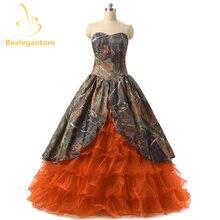 Женское камуфляжное бальное платье с оборками на шнуровке