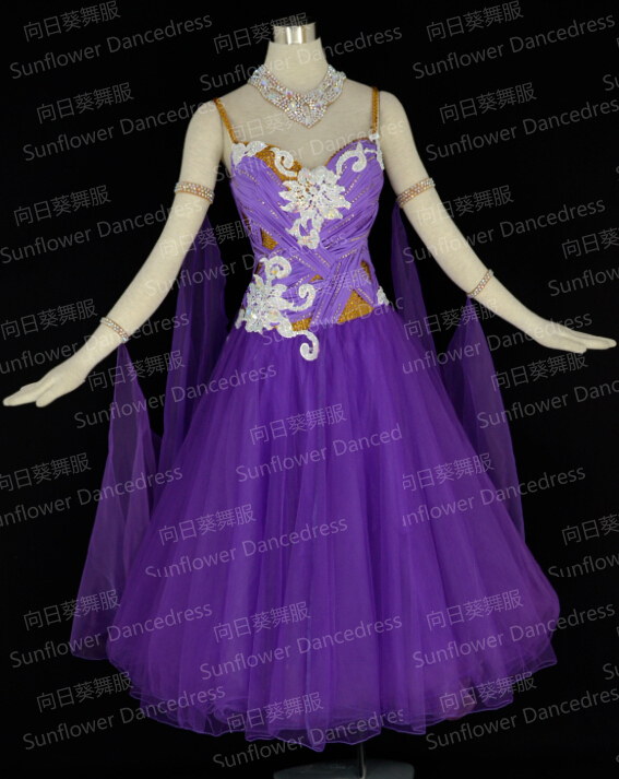soft gauze dress,2015 New Dance Wear Ballroom Standard Dance Dress,Waltz Competition Dress,Ballroom Dance Dress,purple Color