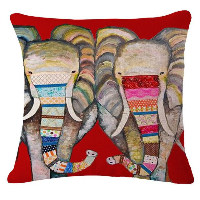 Colorful India Elephant Cotton Linen Pillow Case 18 inch Square Chair Waist Pillow Cover Home Garden Textile