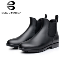 BONJOMARISA 2019 New Black PVC Rain Booties Women Autumn Elegant slip-on Waterproof Chelsea Boots non-slip Shoes Woman