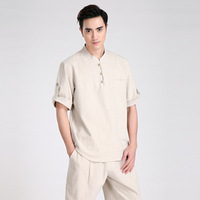 Summer New Fashion Beige Tradition Chinese Men S Cotton Linen Kung Fu Short Sleeve Shirt Tang