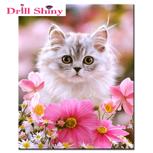 "Full Round Diamond 5D DIY Diamond Painting ""cute cat"" Embroidery Cross Stitch Rhinestone Mosaic Painting Home Decor Gift"