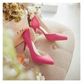 2016 spring new sweet kitten heels pointed fine with simple nude color heels summer women medium heels shoes woman transparent