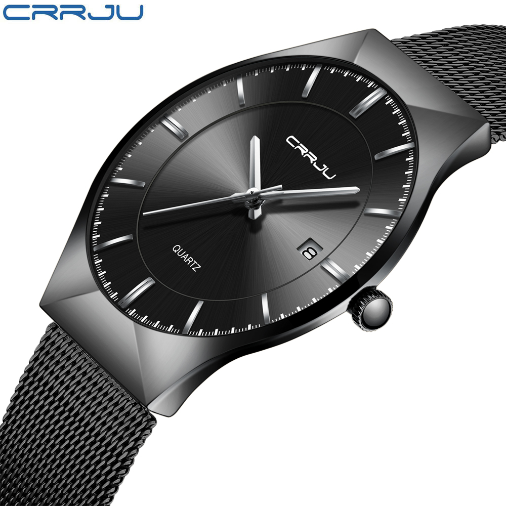CRRJU Fashion Simple Stylish Luxury brand Watches Men Stainless Steel Mesh Strap Thin Blue Dial Clock Man Casual Quartz-watch