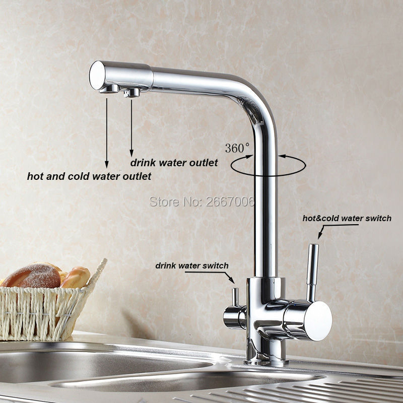 Free shipping Drink Water Faucet Kitchen Purifier Faucet Filter Taps Brass Taps Chrome Color Water Crane Dual Spout Faucet ZR647 sognare 100% brass marble painting swivel drinking water faucet 3 way water filter purifier kitchen faucets for sinks taps d2111