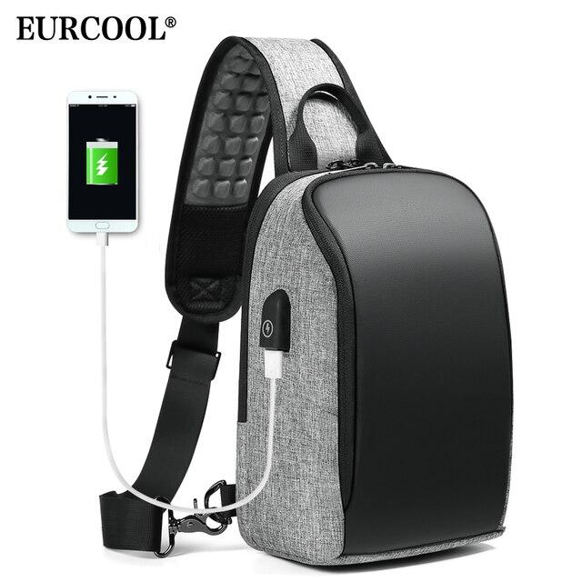EURCOOL iPad Sacos Do Mensageiro Ocasional Saco Crossbody para Homens 9.7 polegada com USB Porto De Carregamento Pacote de Peito Masculino n1907