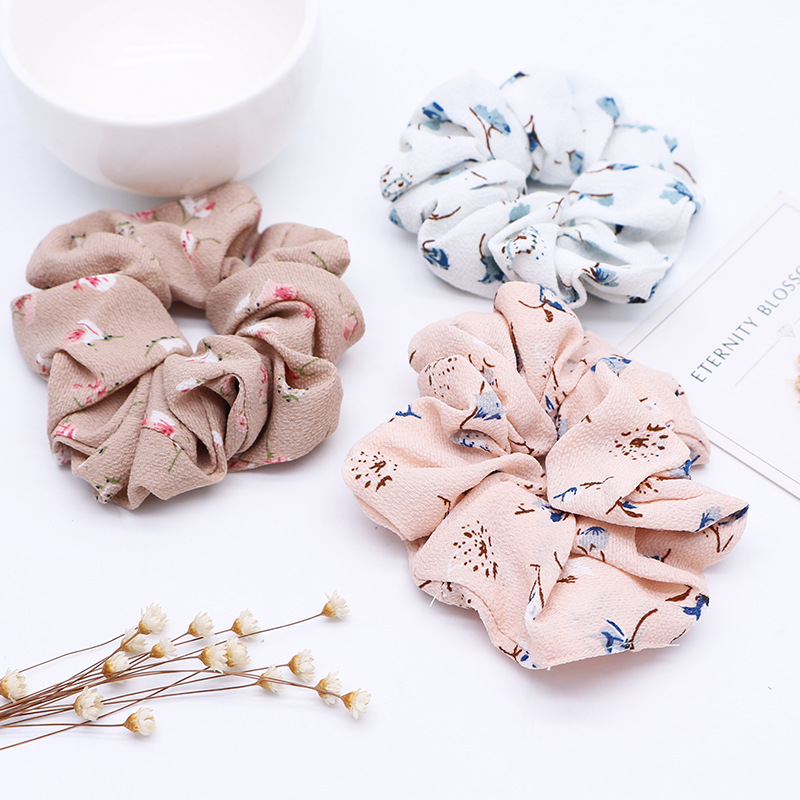 New Fashion Korean Sweet Comfor Fresh Spring Summer Floral Fabric Stretch Hair Rope Ring Head Tie Hair Band Ponytail Headband