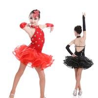 Miễn phí vận chuyển cô gái thời trang sexy sequin latin ballroom dance dress child kid latin thi khiêu vũ latin dress cho sân khấu