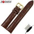 ZLIMSN 26mm (Buckle 22mm) Hebilla de Oro de Brown del Cuero Genuino de correas de Reloj de Reloj de La Correa A71G