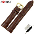 ZLIMSN 26mm (Buckle 22mm)  Watchbands Brown Genuine Leather Gold Buckle Watch Band Strap A71G