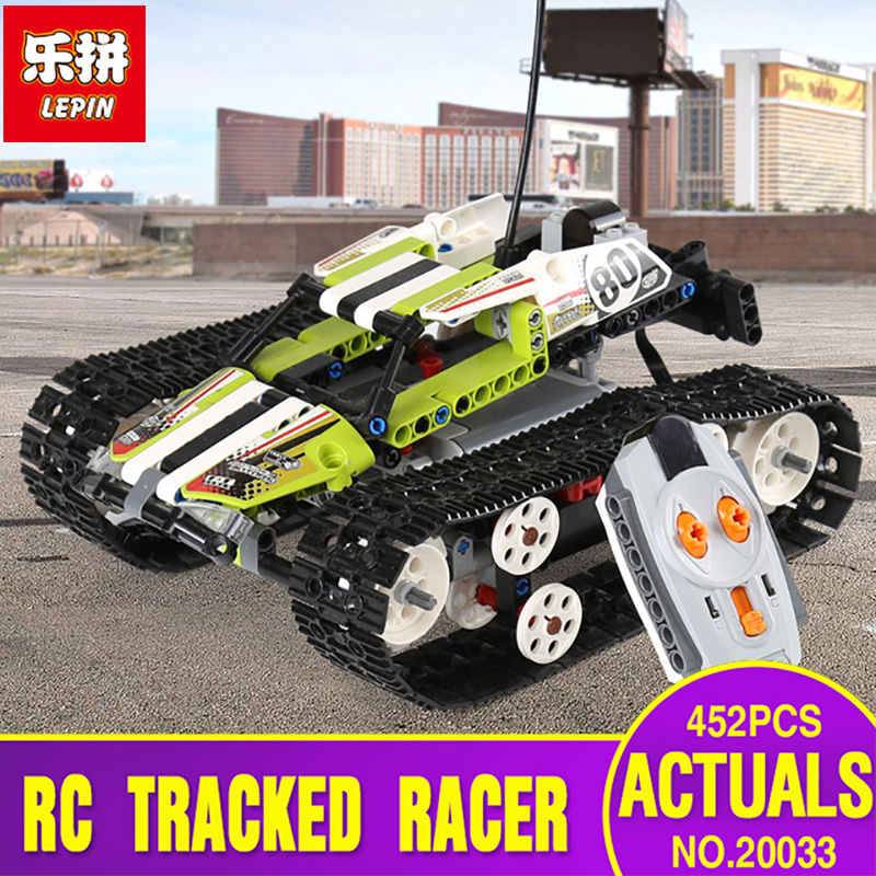 Lepin 20033 452pcs Technic Series The RC Track Remote-control Race Car Set Educational Building Blocks Bricks Toys legoing 42065 lepin 23013 genuine technic series the remote control off road car set 2314pcs building kits blocks bricks legoing gifts
