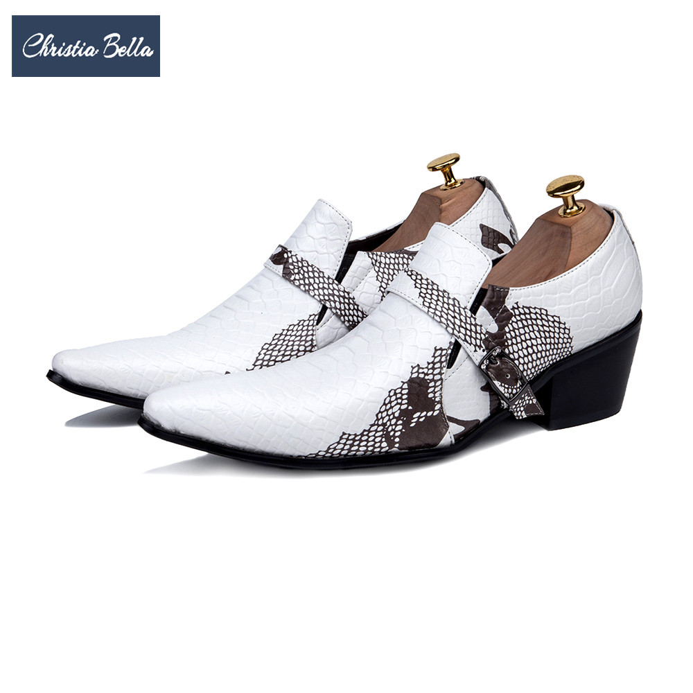 Christia Bella Fashion Brand Party Wedding Men Dress Shoes White Genuine Leather Buckle Formal Shoes Height Increasing Men Shoes fashion genuine leather brogue shoes men spring new dress shoes formal shoes height increasing platform men shoes hot sale