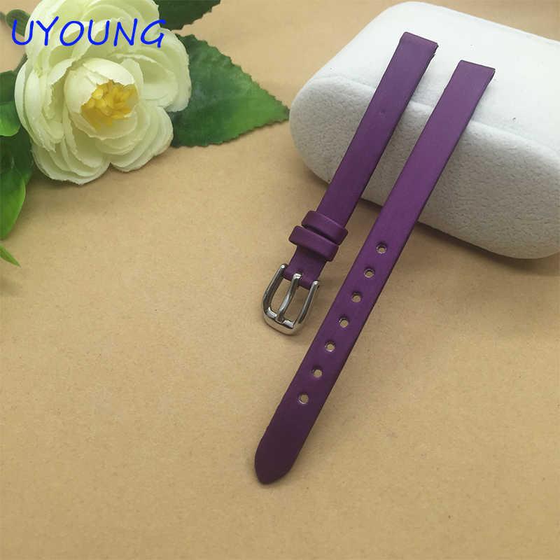جودة نسج الحرير + جلد طبيعي Watchband 6 مللي متر 8 مللي متر 10 مللي متر للمرأة ساعة معصم