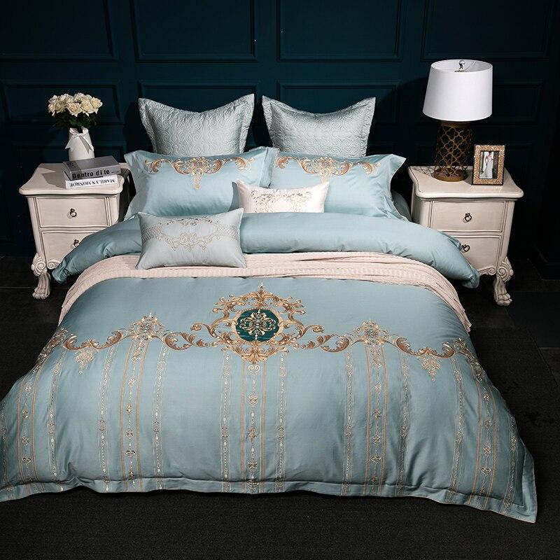 4/6/7Pcs luxury Egypt Cotton Satin Court Art Bedding Set embroidery Duvet cover set Bed Sheet Pillowcases Queen King size