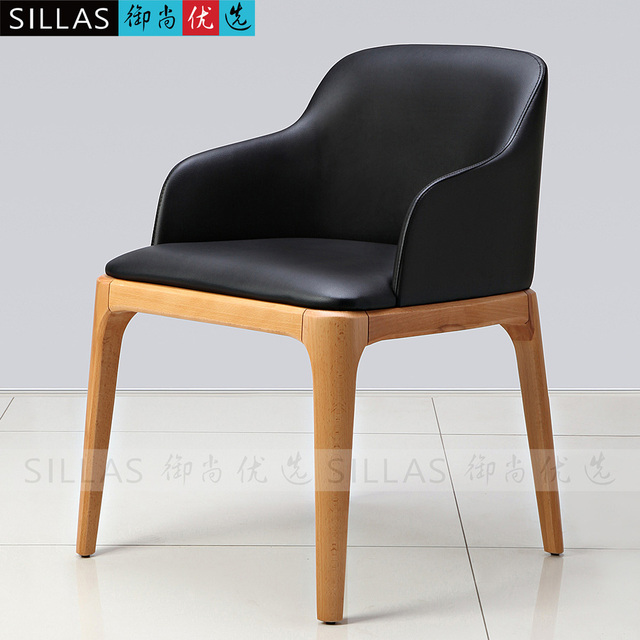 Wood armchair chair backrest casual restaurant leather dining chairs ...