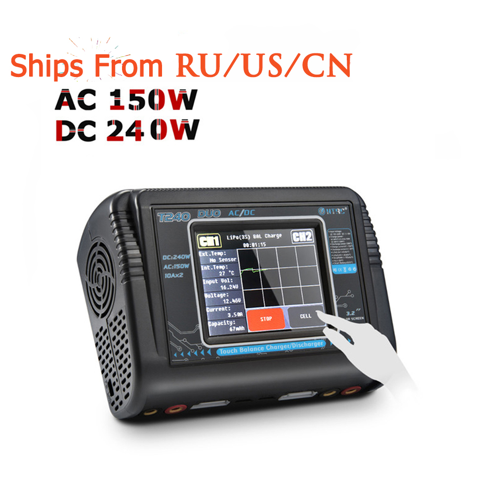 Lipo Chargeur RC HTRC T240 DUO AC 150 W/DC 240 W écran tactile Double Équilibre Déchargeur pour LiPo LiHV vie Lilon NiCd NiMh Pb Batterie