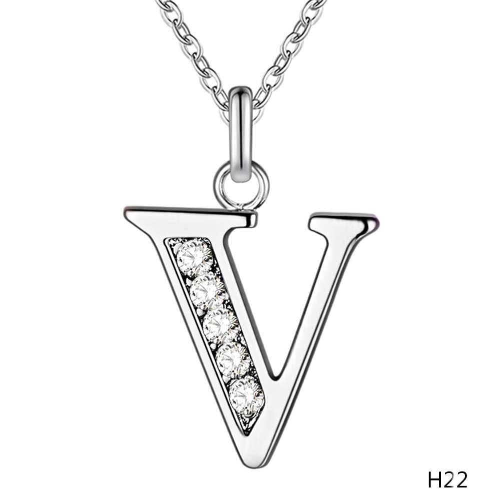 Collare Cristal Rhinestone T para Z 26 Tone Letra Inicial de Prata Alfabeto Carta Pingente de Colar de Jóias Mulheres Colar Charme