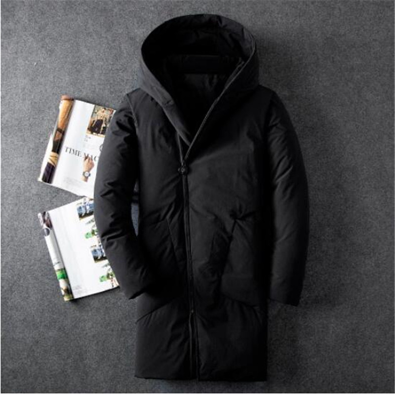 Winter Black   Down     Coat   Male Fashion Casual Two Pocket Medium Long Duck   Down   Jacket Men New Solid Color Hooded   Down   Jacket
