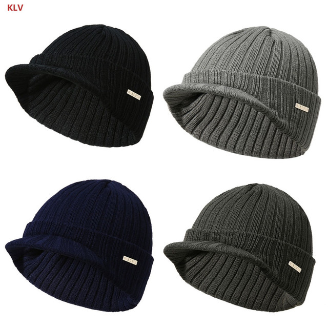 f43e05c458 KLV Mens Womens Winter Beanies Hat Skullies Winter Warm Knitted Cap With Visor  Brim