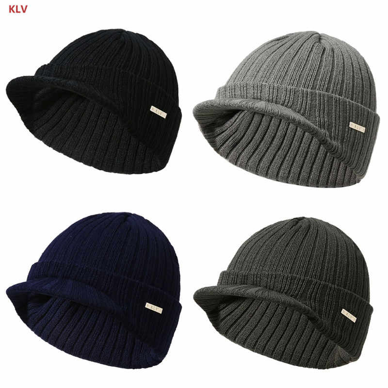 52878ba21259 KLV Mens Womens Winter Beanies Hat Skullies Winter Warm Knitted Cap With Visor  Brim