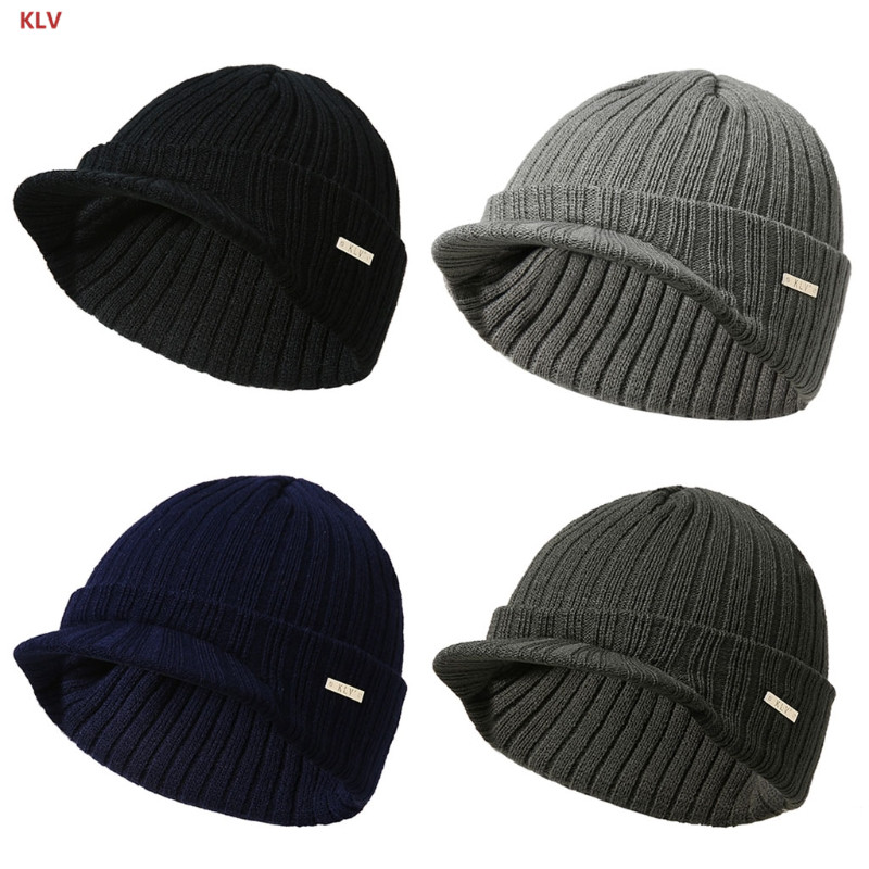 KLV Mens Womens Winter   Beanies   Hat   Skullies   Winter Warm Knitted Cap With Visor Brim