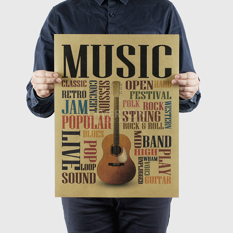 1152 Musical Instruments B / Guitar /kraft paper/bar poster/Wall stickers /Retro Poster/decorative painting 47x35.5cm