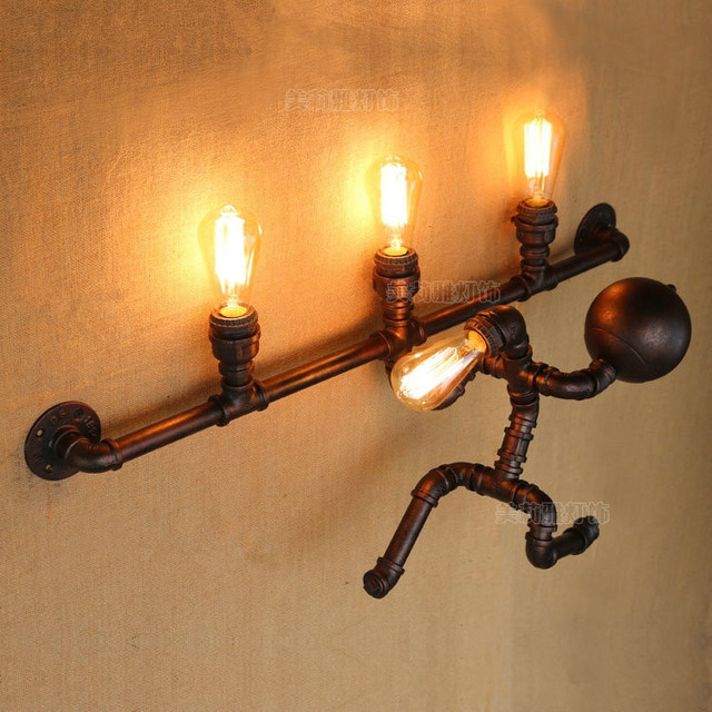 Iwhd Industrial Vintage Loft Led Wall Lamp Creative Iron