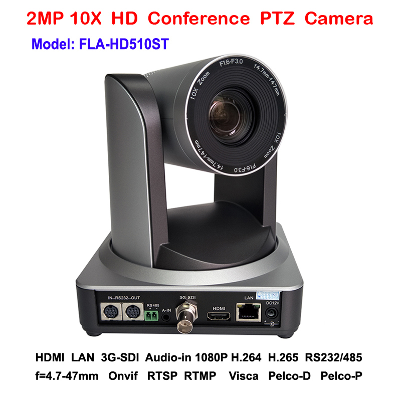 2MP 10x Zoom PTZ Camera 3G-SDI IP HDMI Three Simultaneous Video Outputs for Live RTMP IP Video Streaming image