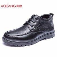 Aokang/зимние мужские ботинки натуральная кожа мужская обувь модные черные туфли на шнуровке ботильоны наивысшего качества обувь для мужчин