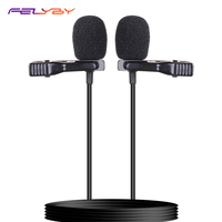 FELYBY Lavalier microphone double lava clip mini microphone interview recording microphone portable microphone set