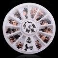 Nuevo 12 Diseños 3d de Metal Accesorios Del Arte Del Clavo de la Navidad de Oro Negro 2 lados Nail Sticker Decoraciones Rueda