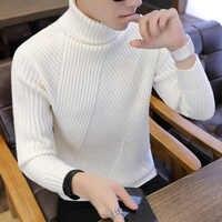 Golf w paski męskie swetry wełniany męski pulower ponadgabarytowy golf męski Sweter Pull Jumper koreański styl biały