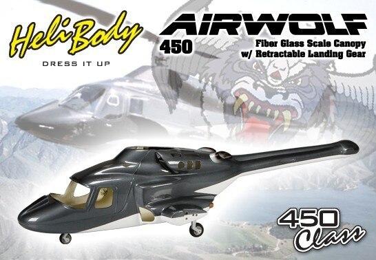 Nouvelle version Bell 222 Fiber De verre 450 airwolf fuseage hélicoptère W/se rétracte et métal train d'atterrissage airwolf 450 V3 en gros P2