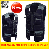 High Quality Men Outdoor Workwear Mens Work Vests Tool Vests Free Shipping