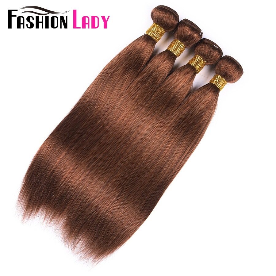 Fashion Lady Pre-Colored Raw Indian Hair Straight Hair 4 Bundles Human Hair Bundles With Color 30 Hair Bundles Brown Non-Remy