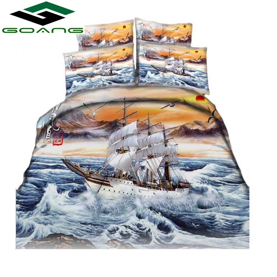 GOANG Bedding Set Luxury Home Textiles 3d Digital Printing Boat Scenery Bed Sheet Duvet Cover Pillow Case Home Decor Best Gifts