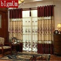 新しい高級窓ドレープヨーロッパ現代のエレガントな高貴な刺繍シェードカーテン用リビングルーム寝