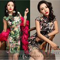 2016 New Cheongsam Sexy Dress Fashion Chinese Style Vintage Printing Summer Hemp Plus Size Qipao M/XXL/XXXXL Free Shipping
