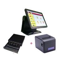 15 ''Сенсорный экран все в одном POS Системы/кассир pos машины супермаркете оборудования/кассовый аппарат с 80 мм принтера
