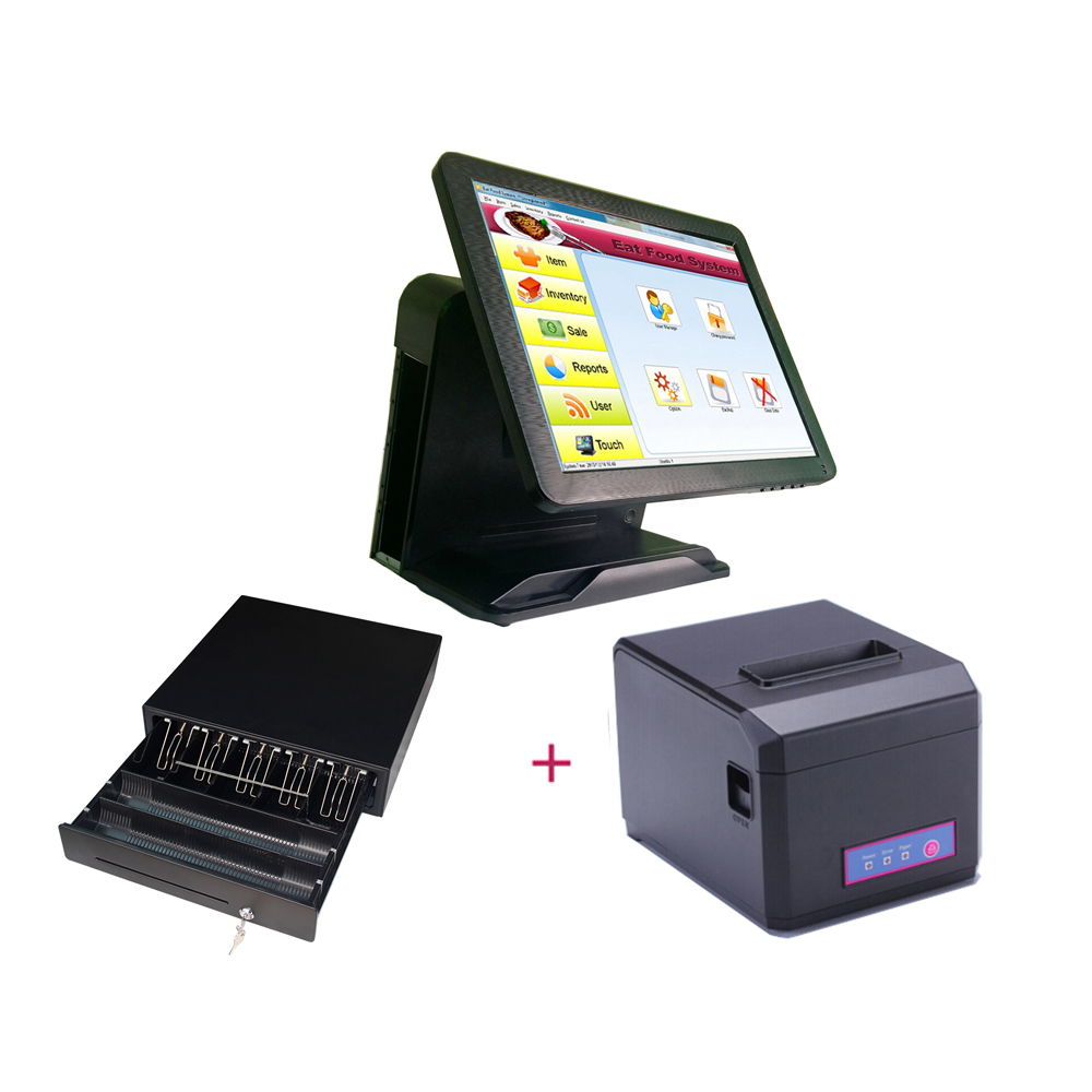 15'' Touch Screen All In One POS System/Cashier POS Machine Supermarket Cashier Equipment /Cash Register With 80mm Printer купить