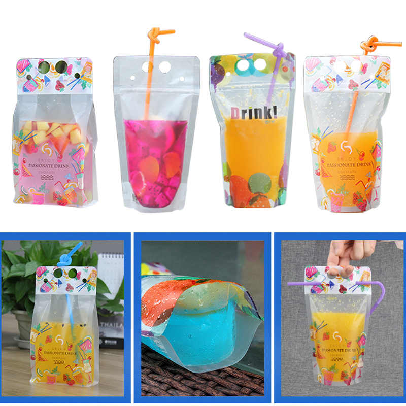 Hoomall 10pcs Storage Durable Self 500ML Sealing Beverage Pouch With Handle And Holes For Straw Plastic Drink Packaging Bag