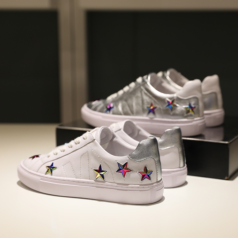 blanc Blanc Cuir Chaussures Celebrity Mode 2019 Femmes Déco Plates Étoile Argent De Tennis Européenne Métal En sohQxtBrCd
