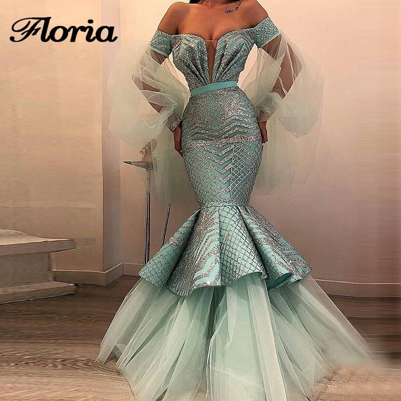Sexy Mint Muslim Evening Dresses For Weddings Moroccan Kaftan Gowns Dubai Turkish Aibye Prom Dress Abendkleider Robe de soiree