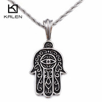 KALEN Homme Fatima Hand Necklace Men's Jewelry Stainless Steel Classic Hamsa Hand Pendant Necklace Male Gothic Accessories 2017