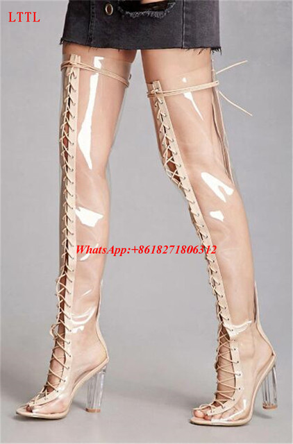 53da33183c Fashion Zapatos Mujer 11cm Crystal Clear Heels Jelly Shoes Woman Peep Toe Over  Knee Booties Lace